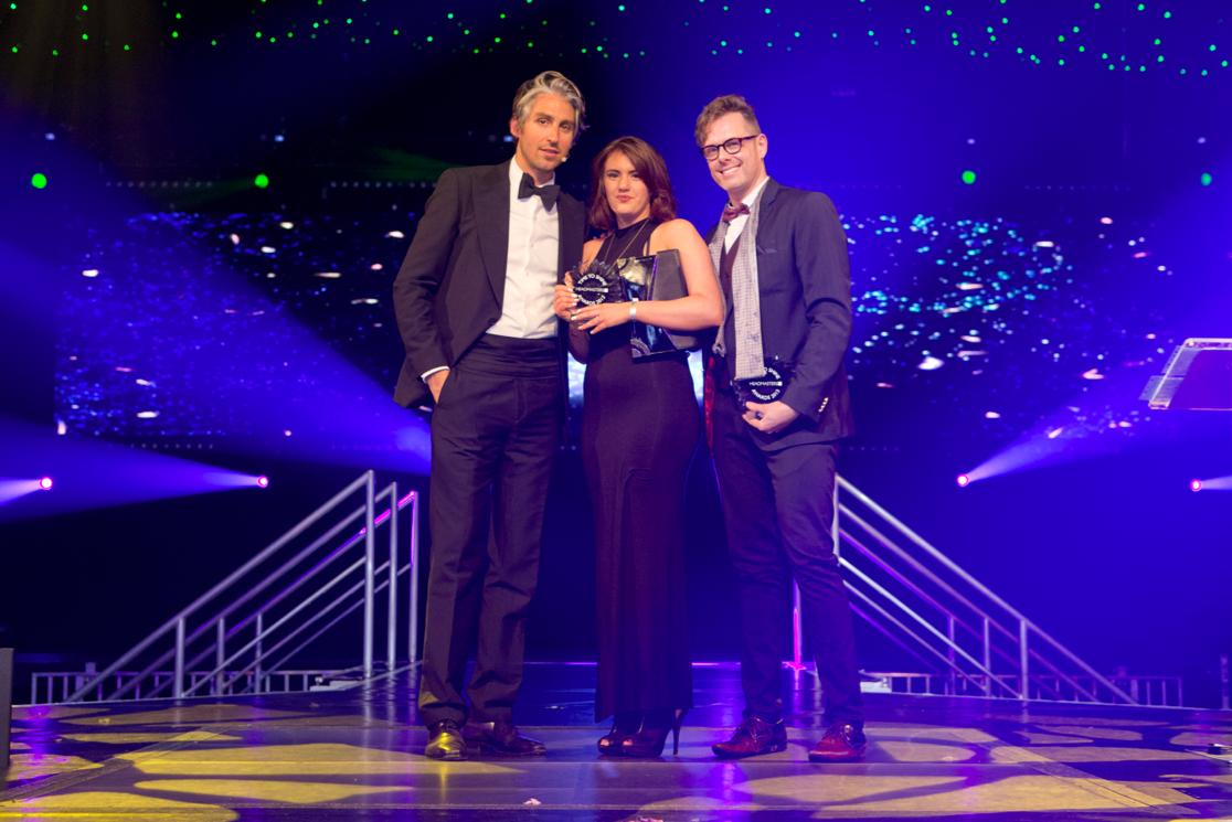 Christine Sanders Future Star Award winner Emma Feeley, George Lamb & Headmasters Artistic Ambassador Ollie Blackaby