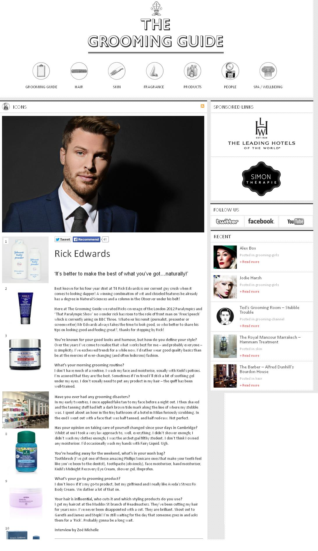 Grooming Guide Interview with Rick Edwards