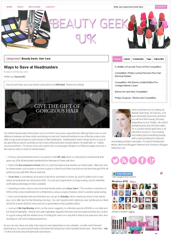 Beauty Geek UK Blog - ways to save with Headmasters