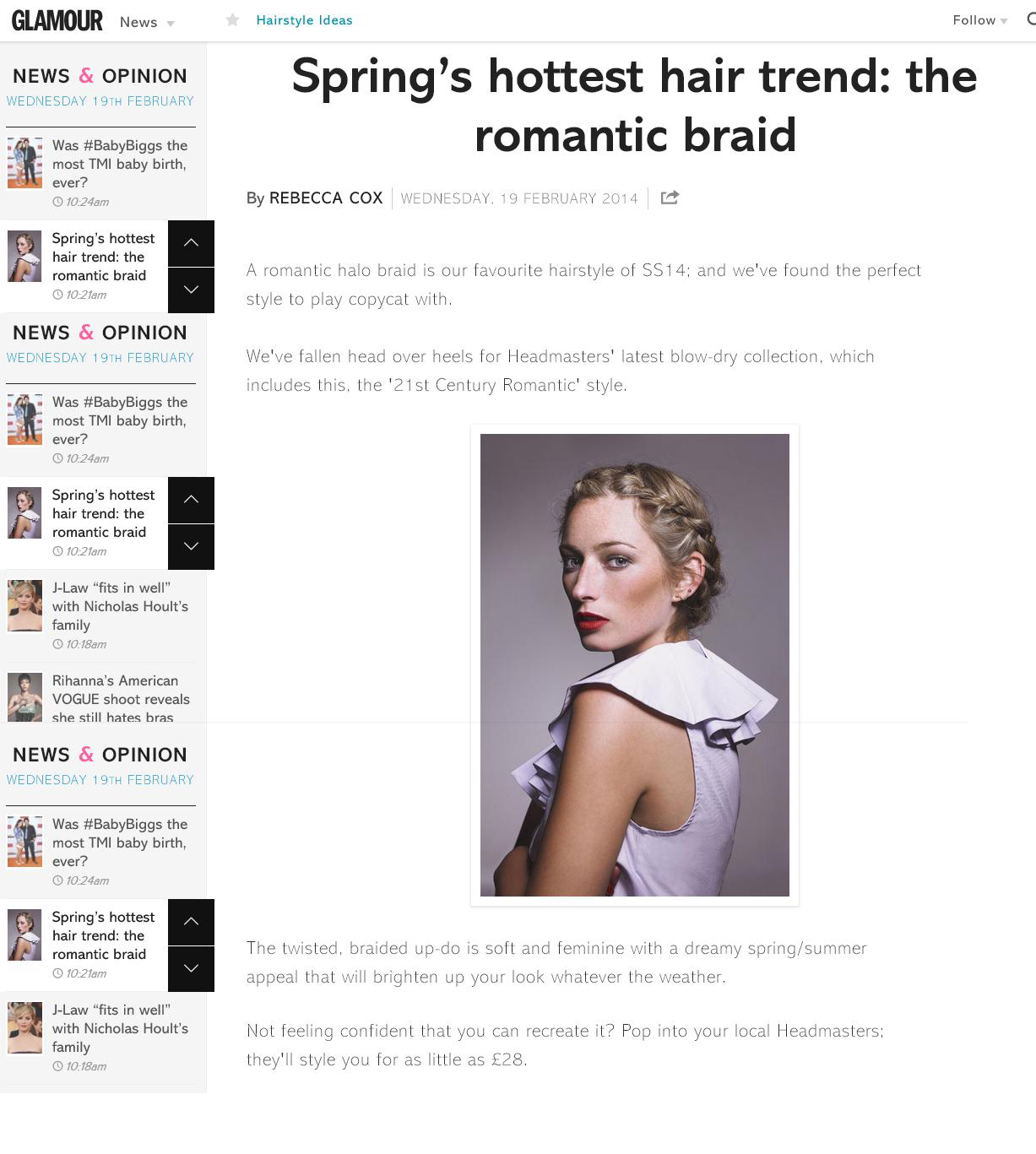 Glamour online - Spring's hottest hair trend featuring the 21st Century Romantic