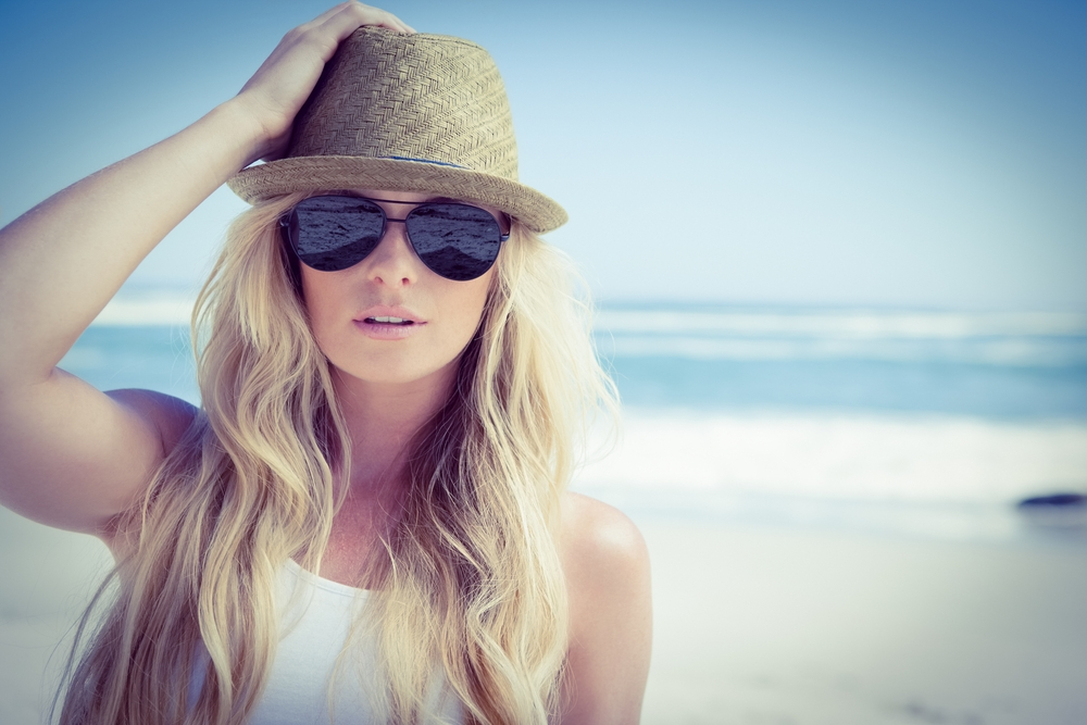 Beach blonde model