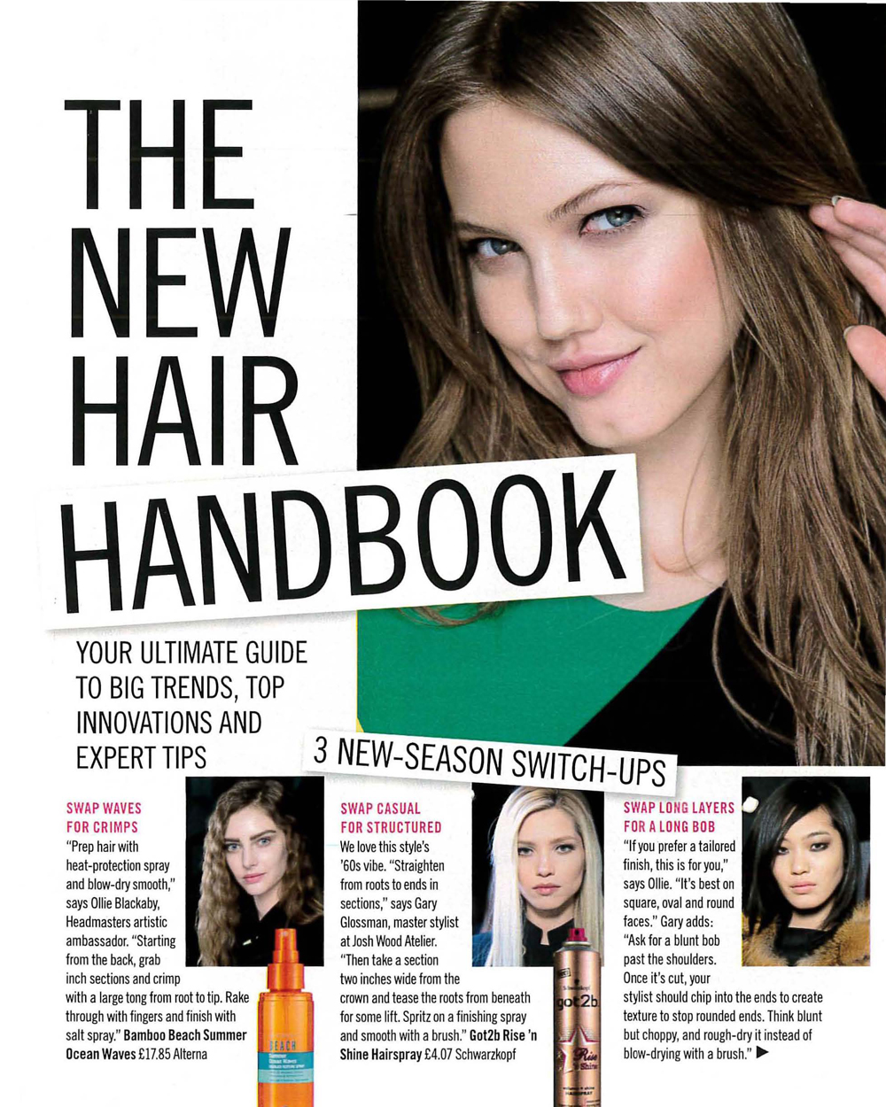 Check out Glamour Magazines hair handbook with expert quotes on how to keep your hair ontrend, from Ollie Blackaby Artistic Ambassador at Headmasters_Page_1