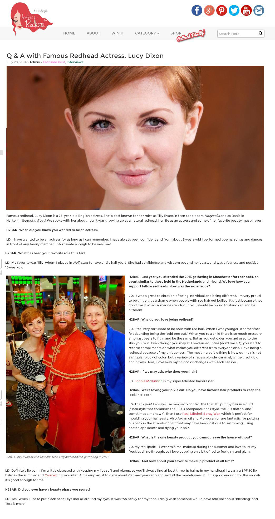 How to be a Redhead blog - Interview with Lucy Dixon, Jonnie McKinnon from HM Chiswick mention